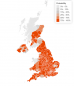 This map shows how likely each local authority area is to be over 100 weekly cases per 100,000 in the week ending December 6.